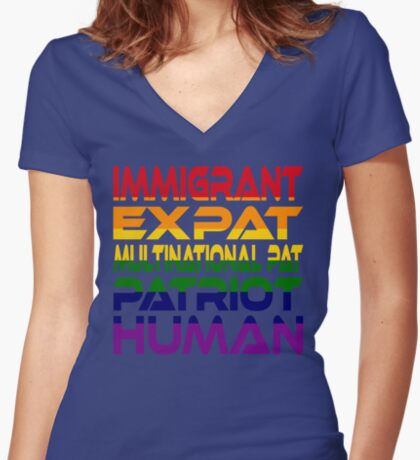 Multinational Thoughts on Our Patriotism: Immigrant (Rainbow) Women's Fitted V-Neck T-Shirt