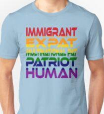 #OurPatriotism: Immigrant...Human (Rainbow) by Onjena Yo Slim Fit T-Shirt