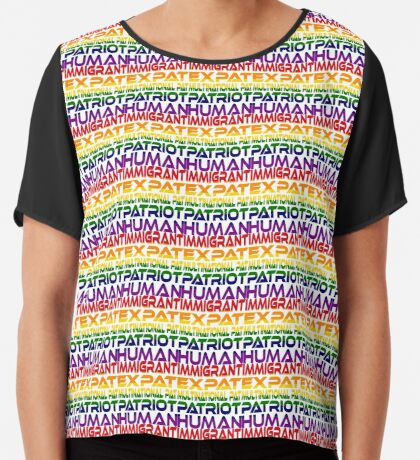 Multinational Thoughts on Our Patriotism: Immigrant (Rainbow) Women's Chiffon Top