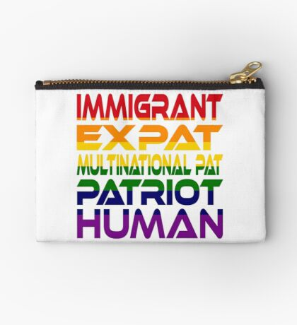 Multinational Thoughts on Our Patriotism: Immigrant (Rainbow) Studio Pouch