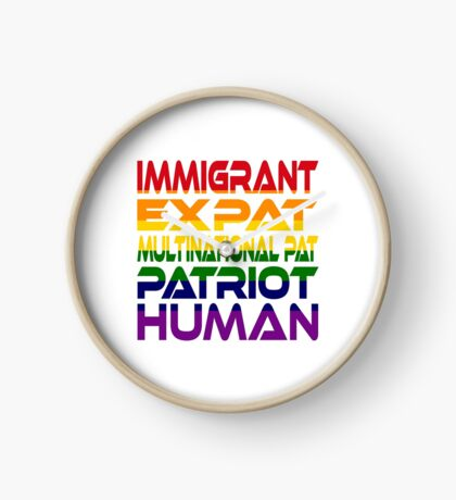 Multinational Thoughts on Our Patriotism: Immigrant (Rainbow) Clock