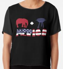 Funny Elephant plus Barbeque Merica American Flag Blusa