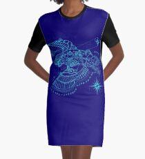 Steampunk Puffin Blueprint Graphic T-Shirt Dress