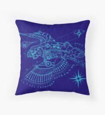 Steampunk Puffin Blueprint Throw Pillow