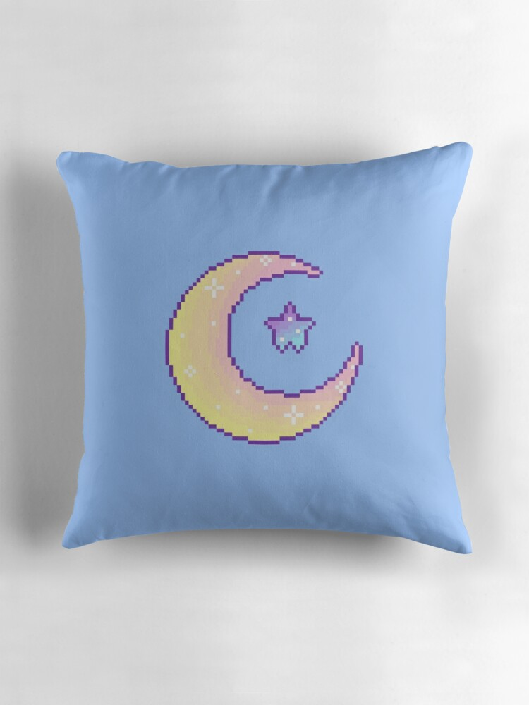 Quot Pixel Planet Moon And Star Quot Throw Pillows By Ohsweetie