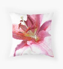 Pink Lily in watercolour Throw Pillow