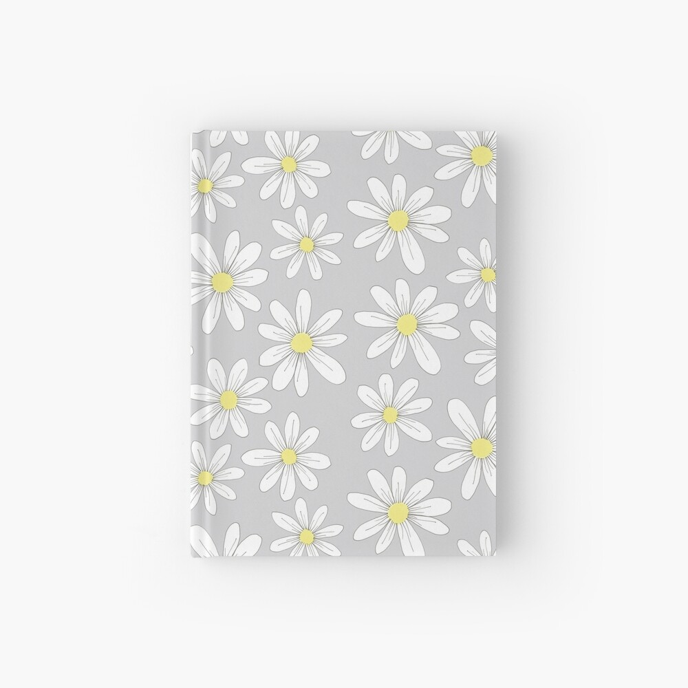 simple daisies on gray Hardcover Journal