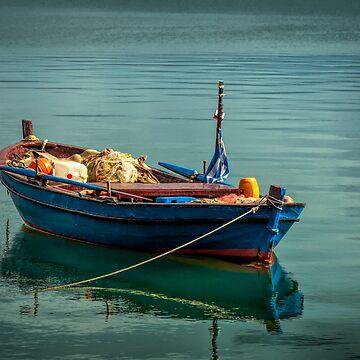 Blue Boat of Lake Pamvotida by photograham