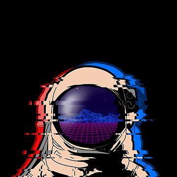 Astronaut Helmet Neon Landscape Retro Synthwave Vaporwave Aesthetics Glitch Art 80s Look by harajukumoments