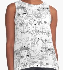 Cityscape pattern - black and white Contrast Tank
