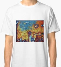 Surreal yellow and blue lake pier with boats Classic T-Shirt