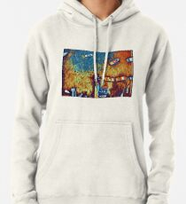 Surreal yellow and blue lake pier with boats Pullover Hoodie