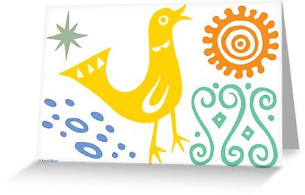Bird Delight Card - golden by Andi Bird