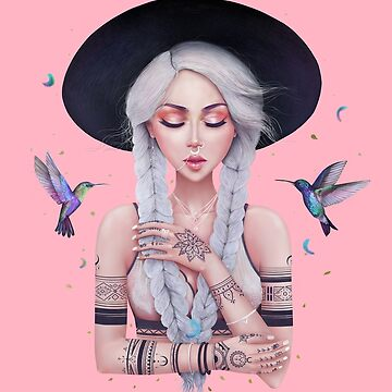Bohemian girl on pink by kodamorkovkart