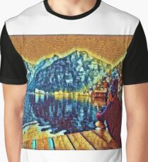 Surreal yellow and blue woman looking at mountain lake by village Graphic T-Shirt