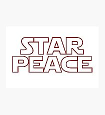 STAR PEACE (Red hollow letters - Star Wars funny parody) Photographic Print
