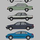 """Peugeot """"Haut de Gamme"""" Classic Car Collection Artwork - 504, 604, 505, 605, 607 by RJWautographics"""