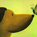 Dog Meets Butterfly by Rosalie Street by Rosalie  Street