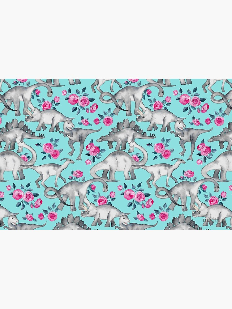 Dinosaurs and Roses – turquoise blue  by micklyn
