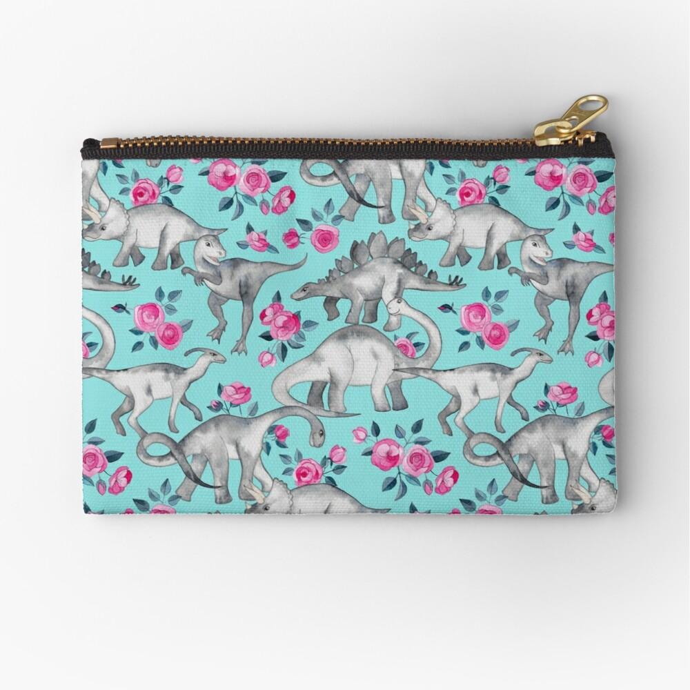 Dinosaurs and Roses – turquoise blue  Zipper Pouch