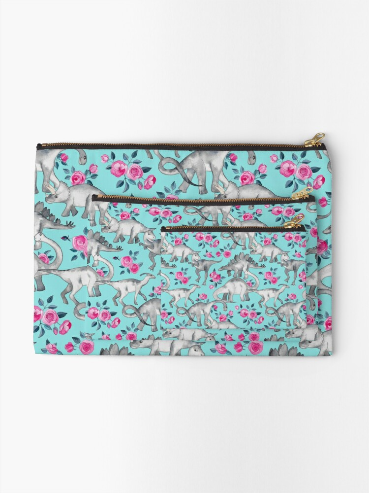 Alternate view of Dinosaurs and Roses – turquoise blue  Zipper Pouch