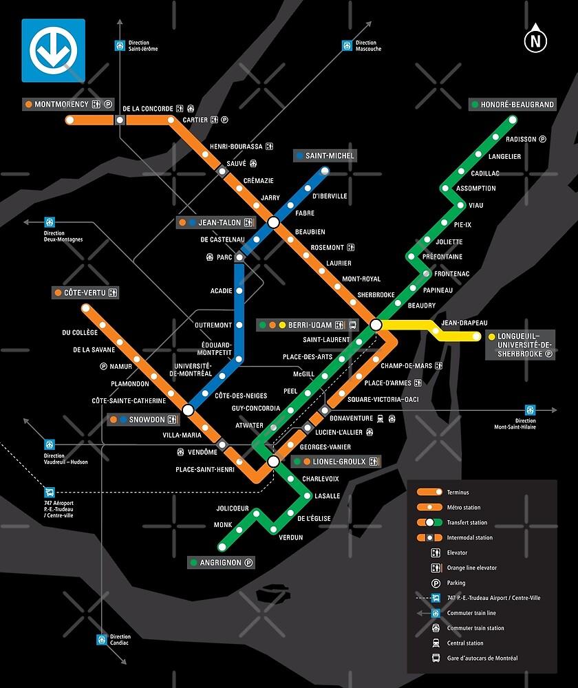 Stcum Metro Map.Stm Montreal Metro Subway Map Black Background Carte Du Metro De