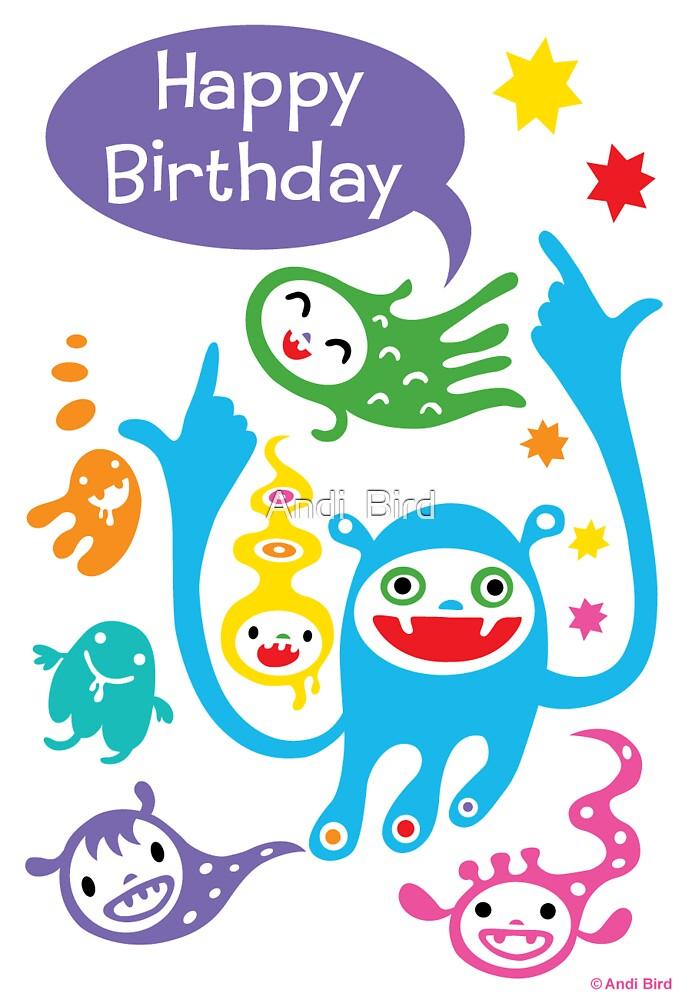 Monsters Birthday - card by Andi Bird