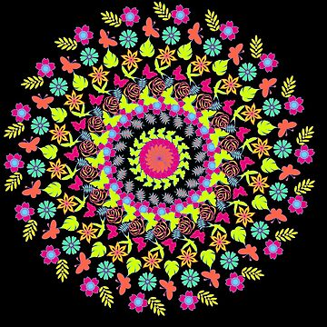 Colour Butterfly Flowers and Leaf Design Mandala  by MandalaFun