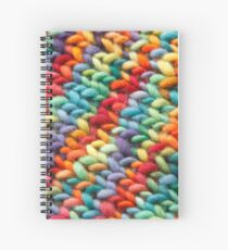 Knitting Rainbow fabric Spiral Notebook