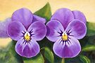Lilac pansies oil painting by Maria Meester