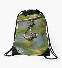 Two Common Green Darners Drawstring Bag