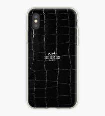 Black hermes paris texture iPhone Case