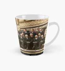 1927 Solvay Conference (spacetime bg), posters, prints Tall Mug