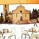 Teramo: bar tables in front of the cathedral by Giuseppe Cocco