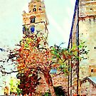 Teramo: bell tower and old men sitting on benches under tree by Giuseppe Cocco
