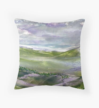 Trees in the valley Throw Pillow
