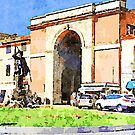 Teramo: monument in the square of city gate by Giuseppe Cocco