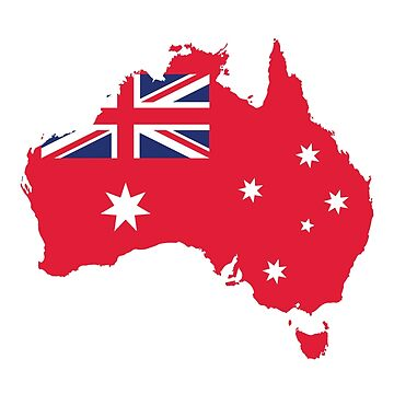 AUSTRALIA MAP AND FLAG RED by Madjack66