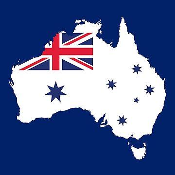 AUSTRALIA MAP AND FLAG WHITE by Madjack66