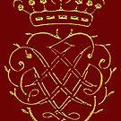 Johann Sebastian Bach..gold on gark red Monogram  by edsimoneit