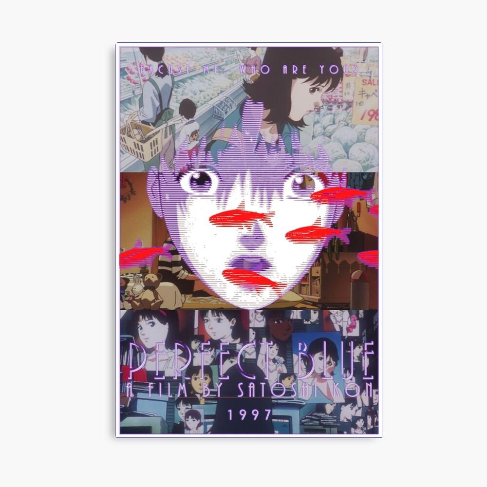 Perfekte blaue Satoshi Kon Animationsfilm-Collage Leinwanddruck