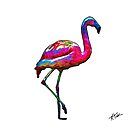 One Step At A Time Abstract Flamingo by KirtTisdale
