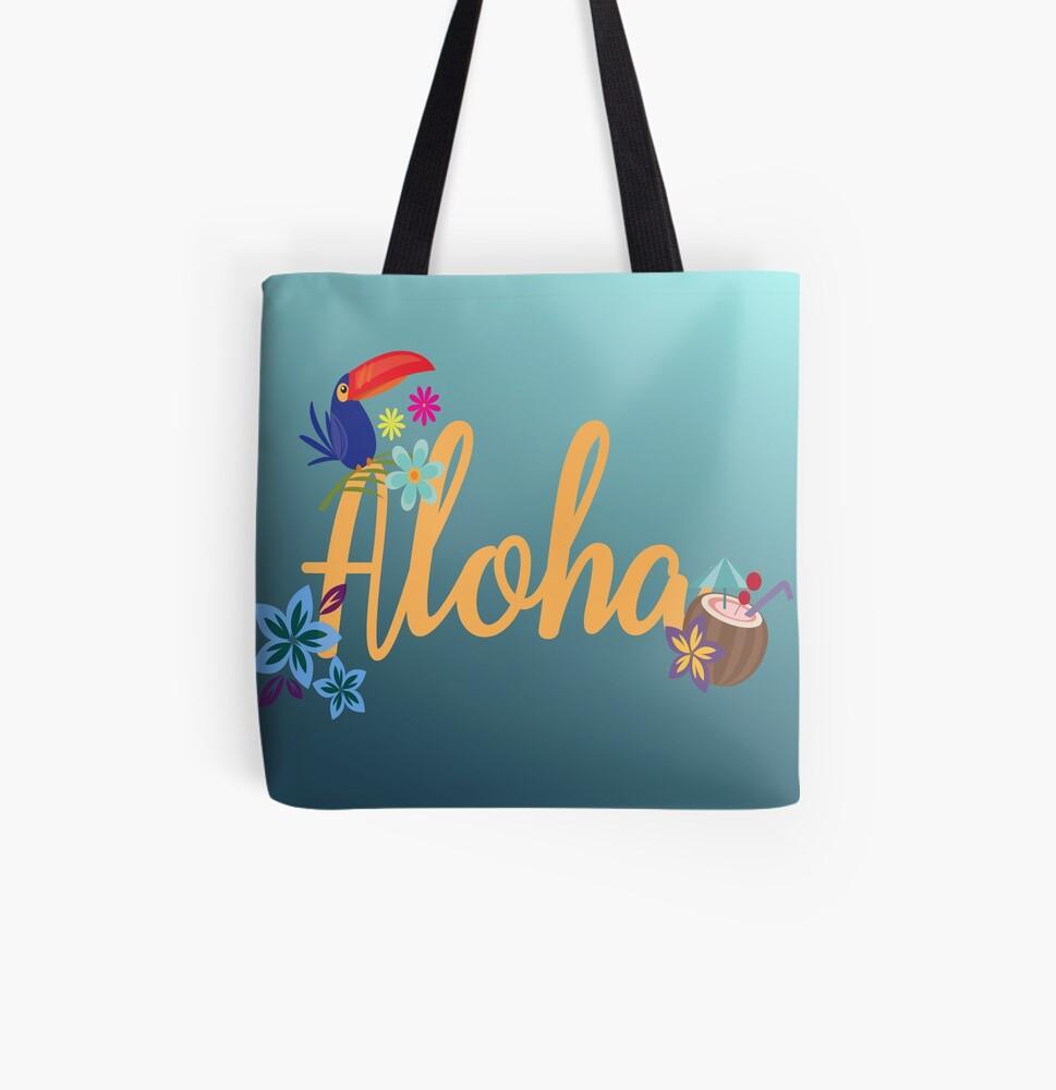 Aloha All Over Print Tote Bag
