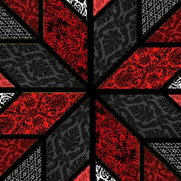 Quilted Design - Closeup - Red, Black and White by JaMiHo1981
