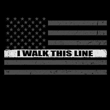 Corrections Officer I Walk This Line Thin Silver Line Flag by bluelinegear