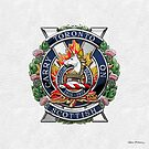 The Toronto Scottish Regiment - Cap Badge over White Leather by Serge Averbukh