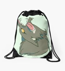 Wolf Snarling (green) Drawstring Bag