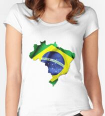 Brazil Flag Country Women's Fitted Scoop T-Shirt