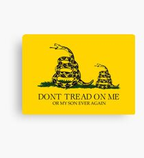 Dont tread on me or my son ever again Gadsden flag Don't tread on me parody funny meme snekright yellow background HD HIGH QUALITY ONLINE STORE Canvas Print