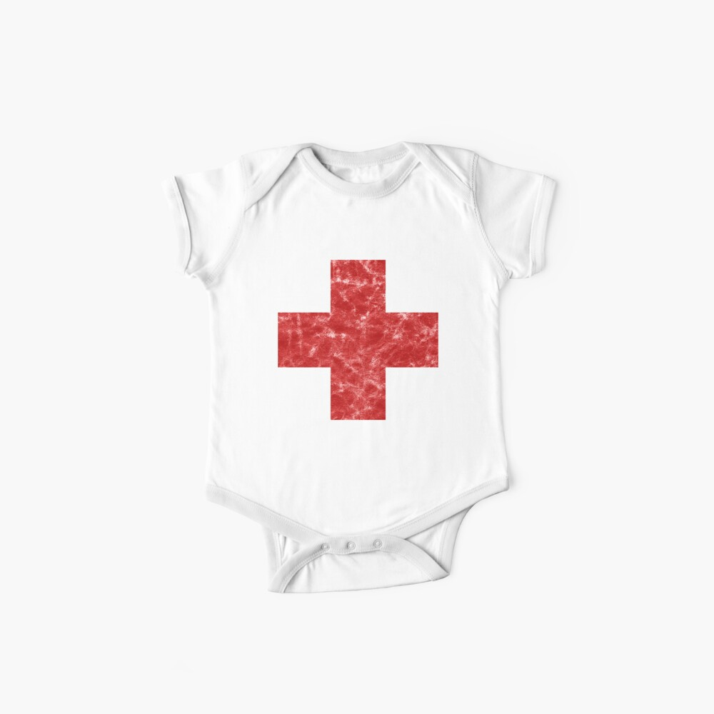 Vintage Medic Cross Distressed rot Baby Bodys